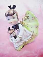 *Rare Vtg * Lefton Green Girl Angel Pink Bloomers w Baby Doll & Tag Figurine Ex