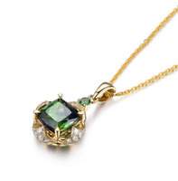 925 Sterling Silver Necklace For Women Clavicular Chain Pendant Emerald