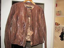 snakeskin ruffle 100% pure leather jacket uk 12 14