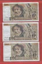 Lot de 3 x 100 FRANCS EUGENE  DELACROIX de 1988  ALPHABETS  O.129