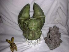 Vintage Lot Of Old Gorgoyles Figurines Large , Signed , Stone ,Bisque