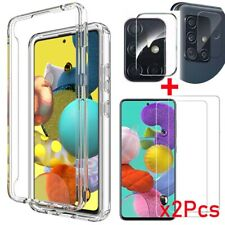 For Samsung Galaxy A51/A71 Rugged Clear Case Cover+Tempered Glass/Lens Protector