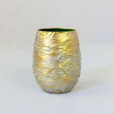 "HANDMADE GLASS DECORATIVE VASE CANDLE HOLDER TEXTURED ROUND 4.5"" HOME DECOR GOLD"