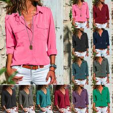 Fashion Women Long Sleeve Turn Down Collar T-Shirt Button Front Shirt Top Blouse