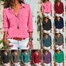 Newest Women Long Sleeve Turn Down Collar T-Shirt Button Front Shirt Tops Blouse