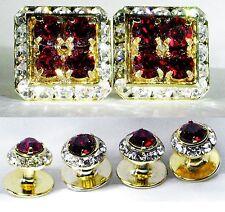 Siam Tuxedo Square Cufflinks With Round Studs Set Made With Swarovski Crystals