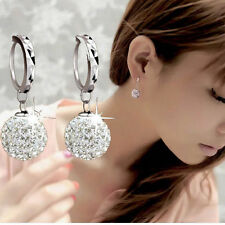 1Pair 925 Silver Plated Rhinestone Crystal Ball Dangle Leverback Earring Studs