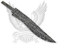 Damascus Custom Handmade Blank Blade Bowie Knife:Palm Leaf Pattern 13.75 Inches