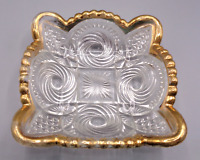 VINTAGE SMALL SQUARE PRESSED CUT GLASS TRINKET DISH ASH TRAY BOWL GOLD TRIM