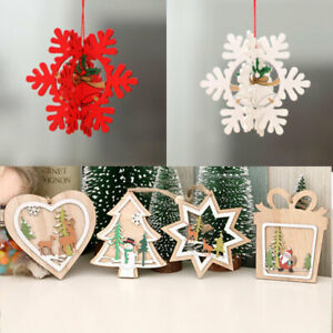 9Style 3D Xmas Tree Pendants Hanging Wooden Christmas Home Party Decoration Gift