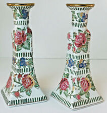 Pair Vintage Asian Chinese Porcelain Candle Stick Holders Pink & Blue Floral 8.5