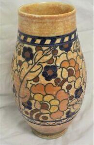 "Charlotte Rhead Crown Ducal 10"" vase Barcelona pattern"