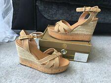 ASH Havana Bis chamois gold leather suede Wedges Sandals, Eur size 40