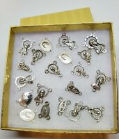 Small Rosary Centerpieces Mixed Lot of 20 Pewter SP Medallions from Chapel Italy