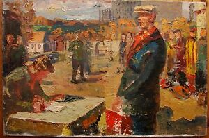 Russian Ukrainian Soviet Oil Painting impressionism Election political party 50s