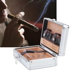 Aluminum Shell Cedar Lined Cigar Humidor Storage Case Portable Travel Gift Box