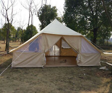 5x4m Canvas Bell Tent Luxury Camping Tent for Family Safari Glamping Tent