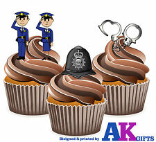 PRECUT Cartoon Police Helmet Handcuffs 12 Edible Cupcake Toppers Decorations