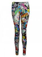 New Womens Ladies Comic Superman Batman Skull Boom Leggings Pants Size 8-24