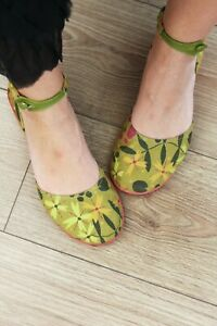 Gudrun Sjoden Green Floral Flat Shoes Size 40
