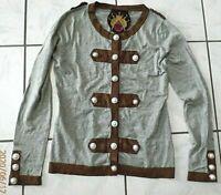TWELVE BY TWELVE LOS ANGELES Womens military Cardigan Sweater LS Gray LargeD178