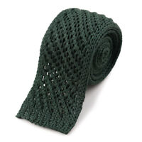 New $185 ISAIA NAPOLI Forest Green Open Knit Cotton Tie Square End