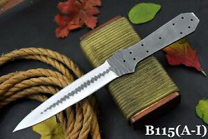Hammered Spring Steel 5160 Blank Blade Dagger Hunting Knife,No Damascus (B115-F)