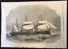 1862 Original Newspaper Print, Her Majesty's Steam-Frigate Defence, 18 Guns