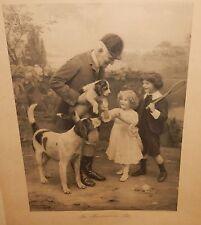"ARTHUR JOHN ELSLEY ""THE HUNTSMAN'S PET"" OLD ORIGINAL 1908 C.W FAULKNER ENGRAVING"