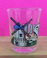 Vintage 1988 Souvenir Shot Glass Dutch Windmill Solvang California GCI