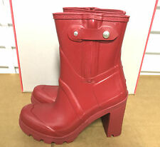 "Stunningly Beautiful & Sexy Hunter Original 4"" High Heel Red Rubber Rain Boots 6"