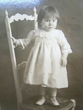 CDV Photo Young Girl in White Dress Standing on a Ladder Back Chair