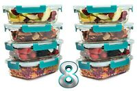 Value Set 8x 840ML Meal Prep Glass Food Storage Containers with Life time Lids