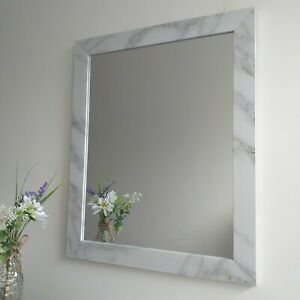 Rectangle Grey & white Marble Effect Wall Mirror Halway Living Room Wall Mirror