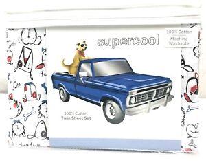 "Supercool 100% Cotton Kid's Sheet Set Cartoon ""Woof"" Dogs Red White Blue Black"