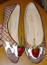 SPRINKLES ice cream sundae cone strawberry shoes flats clown Jumex Size 40 9 9.5