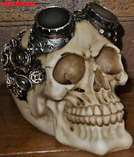 Skull with cogs gears & goggles ornament - Gothic Steampunk Rave Cyber Goth