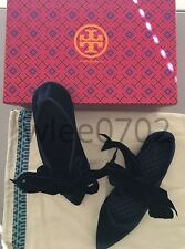 NEW AUTHENTIC Women's TORY BURCH Clara Bow Flats in Navy Blue Velvet, Size 8.5