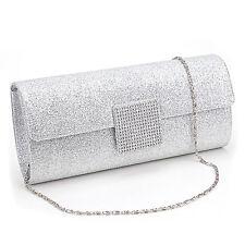 Silver Dazzling Sparkling Shiny Evening Party Clutch Bag Bridal Handbag Purse