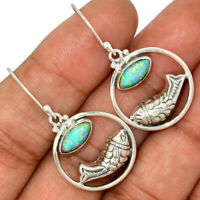 Fish - Fire Opal 925 Sterling Silver Earrings Jewelry AE98520 198H