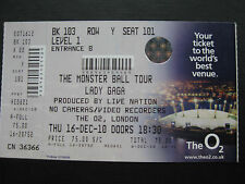 LADY GAGA  LONDON  16/12/2010  TICKET
