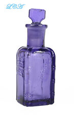 Fancy PURPLE antique VANTINE PERFUME bottle w/ GLASS stopper YOKOHAMA & N Y