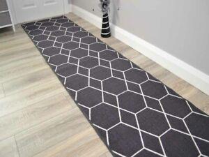 Dark Grey Long Hall Rugs Hallway Charcoal Corridor Rug Wide Narrow Floor Carpets