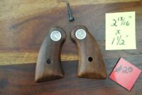 Colt Factory Grips Checkered Wood Silver Medallion J Frame Lawman Trooper Police