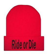 163d95ac50f Red Black TRENDY COOL HIP CUFFED RIDE OR DIE BEANIE Beanies HAT SKULL CAP