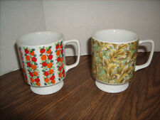 2 Vintage Coffee Mug Cups with Base 5022 *Great Shape* Fruits & Leaves