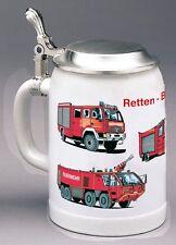 """Feuerwehr-Bierkrug    """"Retten, Bergen, Löschen""""   ++inkl. Ihrer Gravur++"""