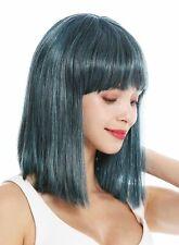 Peluca de Mujer hasta los Hombros Longbob Liso Cleopatra Flequillo Negro Azul