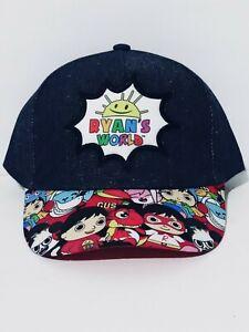 Ryans World Boys Baseball Cap Kids Cartoon Print Blue Hat Adjustable Snapback