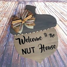 Welcome to the NUT House Fall Acorn Nut Door Hanger, Wood Autumn Wreath Sign